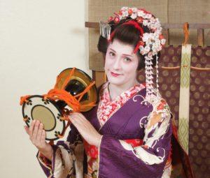 Maiko transformación, detalle tambor
