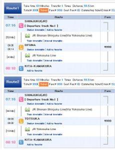 horario trenes Tokio a Kita-Kamakura