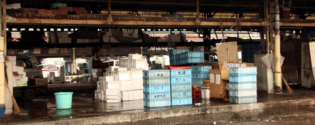 cajas mercado pescado Tsujiki