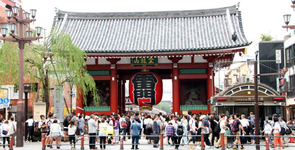puerta entrada templo japonés, kaminarimon gate