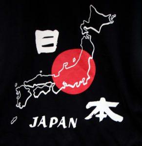 silueta mapa japón en tela