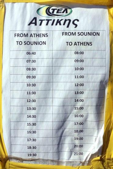 horarios bus Atenas - Sounio
