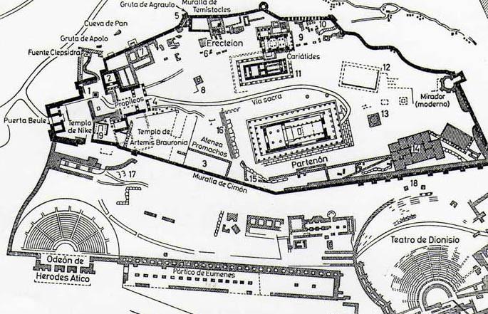 mapa Acropolis Atenas, ruinas