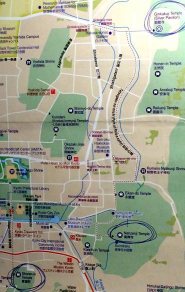 mapa kioto, camino del filosofo