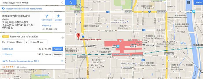 Rihga Royal hotel Kioto, mapa situación