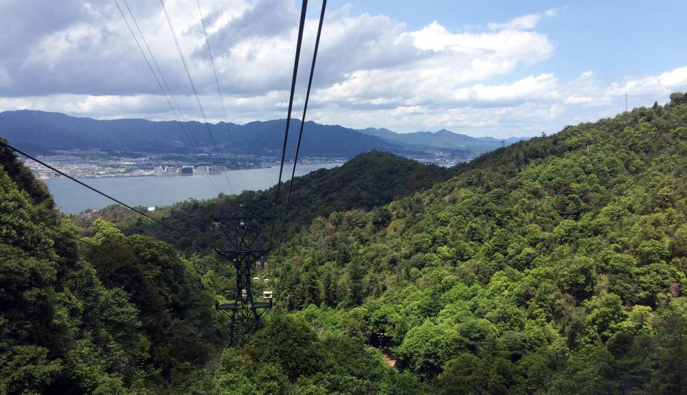 subida teleferico, monte misen, Miyajima