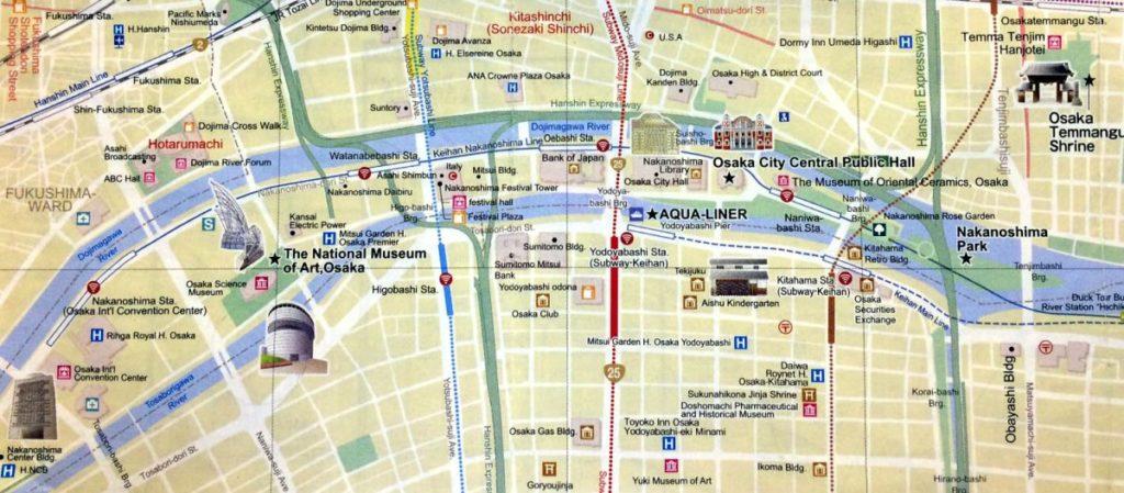 mapa Osaka River Cruise