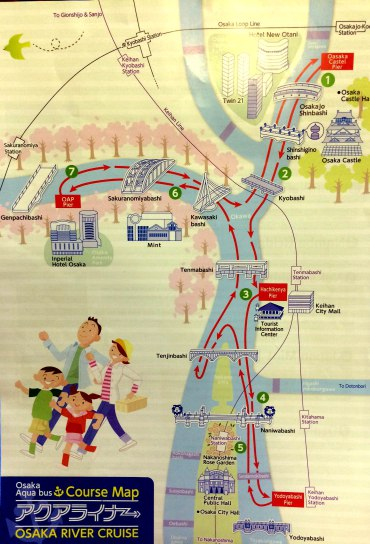 mapa Osaka, River Cruise paradas