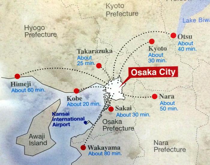 mapa osaka y ciudades cercanas