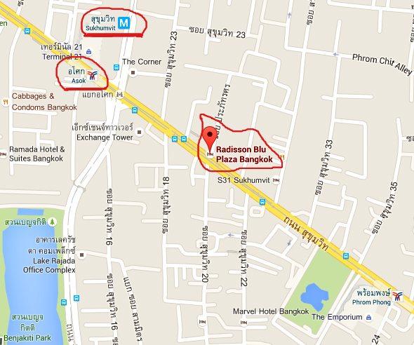 Hotel Radisson Blu Plaza Bangkok, mapa