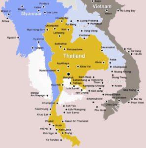 mapa Tailandia con paises limitrofes