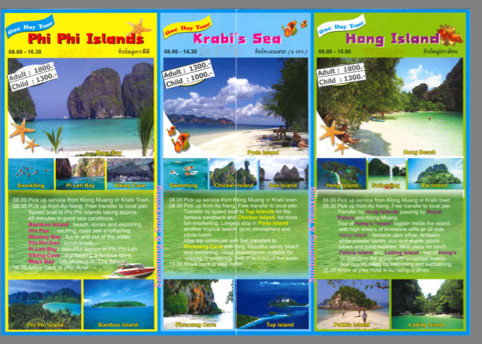 excursiones folleto islas Tailandia