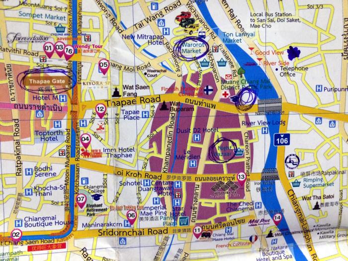 mapa este Chiang Mai