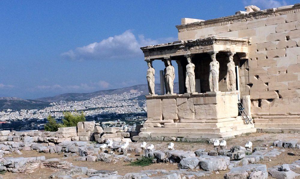 Tribuna de las Cariatides, templo Erecteion, Acropolis Atenas